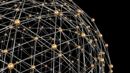 Blockchain system. 3D rendering illustration.