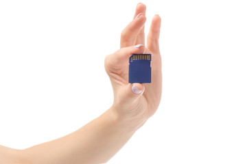 Female hands with flash drive sd card