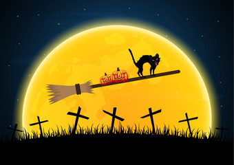 Halloween witch broomstick graveyard pumpkin cat cross background