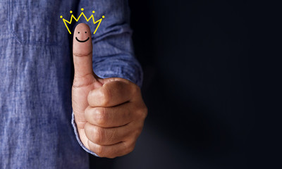 Customer Experience Concept, Best Excellent Services Rating for Satisfaction present by Thumb of Client with Crown and Smiley Face icon