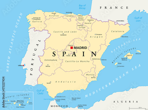 Spain Administrative Divisions Political Map Autonomous - World map and their capitals