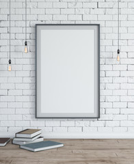 White brick wall with frame & books. Interior scene.