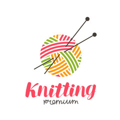 Knitting logo or label. Needlework, knit, ball of yarn and needles icon. Lettering vector illustration