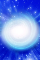 Wall Mural - Esoteric, mystical, magic, magical whirl background in blue white coloring with stars and rays of light