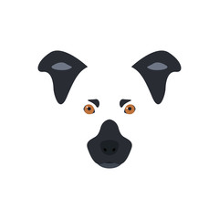 Head of a black-and-white dog with orange eyes. Vector illustration.