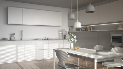 Unfinished project of modern kitchen with table and chairs, herringbone parquet floor, white minimalist interior design