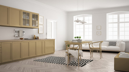 Minimalist modern kitchen with dining table and living room, white and khaki yellow scandinavian interior design