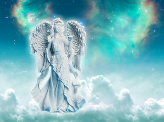 Wall Mural - Angel archangel Ariel or Gabriel or Haniel over divine mystic green starry background