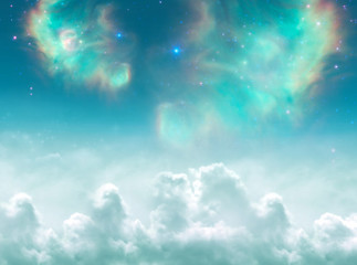 Angelic, divine, spiritual, mystical, magic background with clouds, stars and galaxy in green tonality  Wall mural