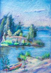 Summer landscape, lake