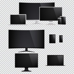 Set of isolated electronic gadgets. Desktop, tablet pc, mobile phone, laptop. Vector illustration.