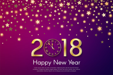 Golden New Year 2018 concept on violet blurry starfall background. Vector greeting card illustration with golden numbers and vintage clock