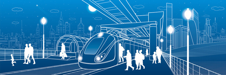 Infrastructure and transport panorama. Monorail railway. People walking under flyover. Train move. Illuminated platform. Modern night city. Towers and skyscrapers. White lines. Vector design art