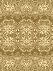 Abstract seamless geometric paisley pattern. Traditional oriental  lace  ornament. Golden hues background. Yoga print. Textile design.