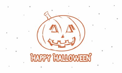 Happy Halloween Vector Illustration Isolated in Night Sky For Website Banner, Landing Page, Brochure, Posters, Flyer,  Greeting Card, Celebration Card