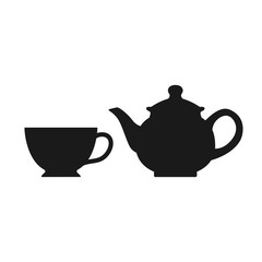 The teapot and cup icon. Tea symbol. Teapot and cup isolated on white background. Vector stock.