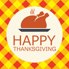 vector cooked turkey for happy thanksgiving day card