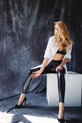 fashion luxury blonde girl in man's shirt