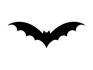 Bat vector illustration. Halloween scary bat in black color. Graphic icon or print, isolated on white background.
