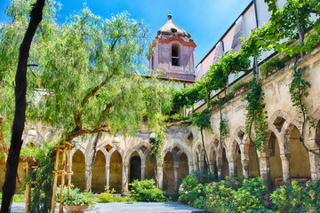 The scenic cloister of San Francesco d'Assisi Church in Sorrento, Italy