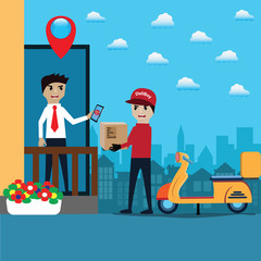 Mobile application concept,Online shopping and Delivery - vector