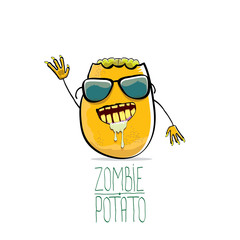 vector funny cartoon cute orange zombie potato character isolated on white background.