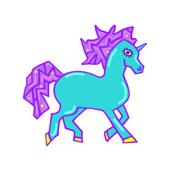 Print for t-shirt with unicorn. Fantasy magical unicorn, kids graphics for t-shirts. Unicorn print for sticker, patch badge. Design for children. Running unicorn patch with mane and horn isolated