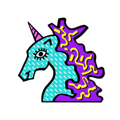 Vector illustration of head of magic unicorn. Unicorn for invitation card, ticket, branding, label. Unicorn  for logotype hand drawn vector line illustration, kids book, greeting card.Unicorn Pop Art