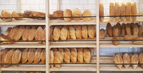 Bakery Store. Shelves with various bread
