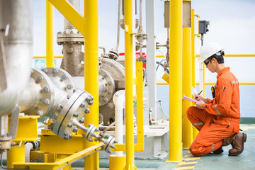 Mechanical engineer inspector inspection crude oil pump centrifugal type at offshore oil and gas central processing platform, maintenance and service for specialist job. Wall mural
