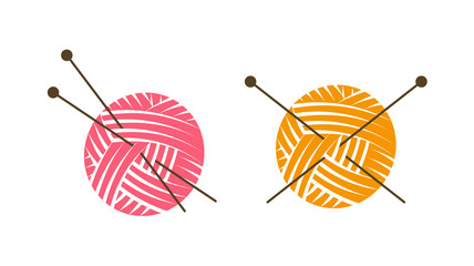 Knit logo or label. Ball of yarn with knitting needles. Vector illustration