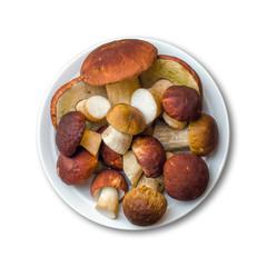 Porcini Mushrooms On Plate Isolated On White Background