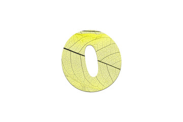 Leaf textured number in a 3D illustration  on a white background