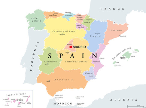 Autonomous communities of Spain political map. Administrative divisions of the Kingdom of Spain with their capitals. Municipalities, provinces and subdivisions. English labeling. Illustration. Vector.