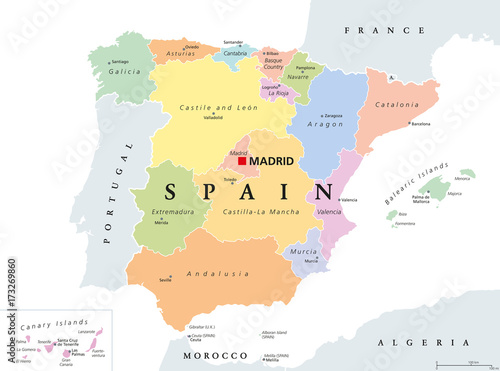 Map Of Spain And Its Islands.Autonomous Communities Of Spain Political Map Administrative