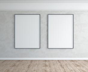 Grey wall room interior with frames, wood floor.