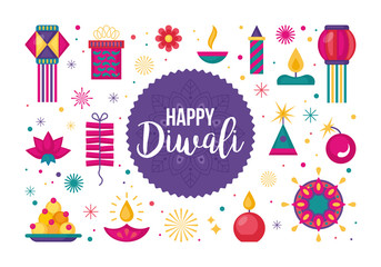 Diwali Hindu festival flat modern elements set