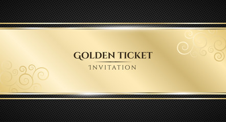Golden ticket. Luxurious invitation. Golden ribbon banner on a black background with a pattern of mesh. Realistic gold strip with an inscription. VIP invitation. Vector