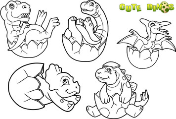 cartoon baby dinosaur picture set