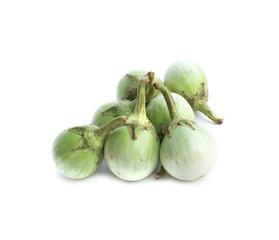 fresh thai eggplant on white background. Green eggplant aubergine vegetable isolated