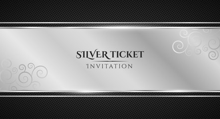 Silver ticket. Luxurious invitation. Silver ribbon banner on a black background with a pattern of mesh. Realistic silver strip with an inscription. VIP invitation. Vector