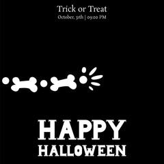 happy halloween card  background, skeleton arm party greeting, vector illustration