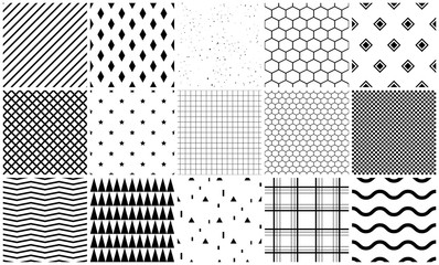 Seamless pattern vector set of geometric textures. Simple black and white shapes background templates.