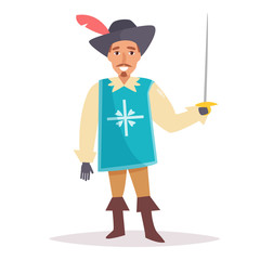 Musketeer. Vector. Cartoon. Isolated