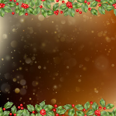 Christmas and New Year card with berries. EPS 10 vector