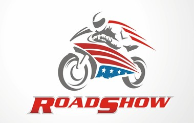 Vector stylized motorcycle logo. Graphic illustration for motorbike. Logo for fair road show. Race logo.