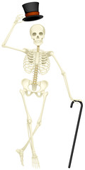 Vector illustration of a skeleton with a top hat and a cane.