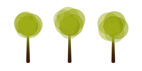 Set of Green Trees. crown of Various Shapes. Green Tree with Round Crown Shape. Ecological Concept. Vector Illustretion Isolated From Background