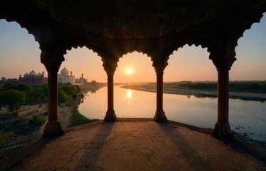 Taj Mahal at sunset, India Wall mural