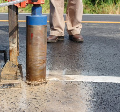asphaltic road coring